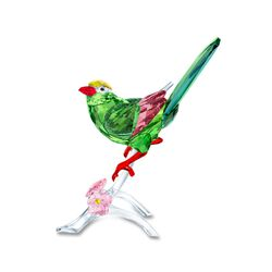 Swarovski Crystal Green and Pink Crystal Magpie Bird Figurine, , default
