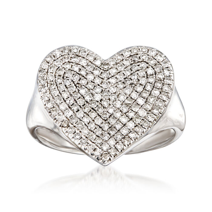 .50 ct. t.w. Pave Diamond Heart Pinky Ring in 14kt White Gold