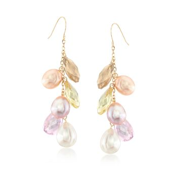 Multicolored 8-9.5mm Cultured Pearl and Multi-Stone Drop Earrings in 14kt Yellow Gold, , default