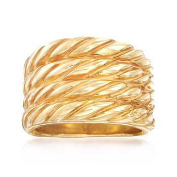 Italian 14kt Yellow Gold Four-Row Roped Ring, , default