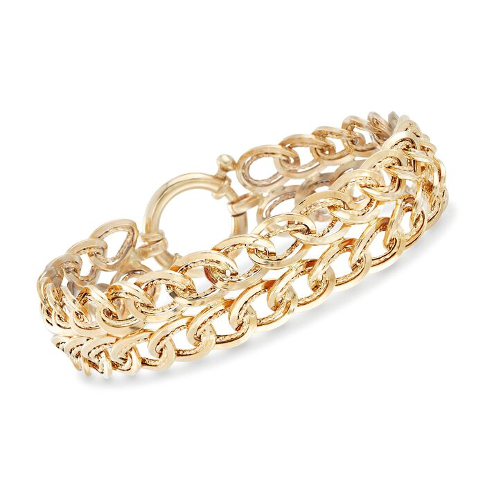 """14kt Yellow Gold Two-Row Oval Curb-Link Bracelet. 7.5"""", , default"""
