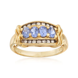 C. 1990 Vintage .75 ct. t.w. Tanzanite Ring With .20 ct. t.w. Diamonds in 14kt Yellow Gold, , default