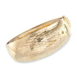 "14kt Yellow Gold Wide Diamond-Cut Bangle Bracelet. 8"", , default"