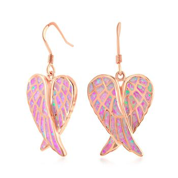 Pink Synthetic Opal Angel Wings Drop Earrings in 18kt Rose Gold Over Sterling, , default