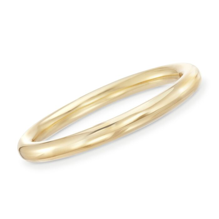 Italian Andiamo 9mm 14kt Yellow Gold Bangle Bracelet. 7.5""