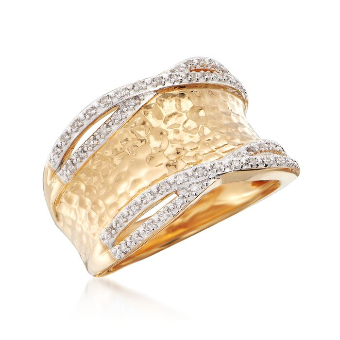 .13 ct. t.w. Diamond Hammered Ring in 18kt Yellow Gold Over Sterling Silver