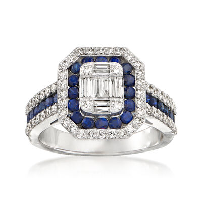 .86 ct. t.w. Sapphire and .78 ct. t.w. Diamond Ring in 14kt White Gold, , default