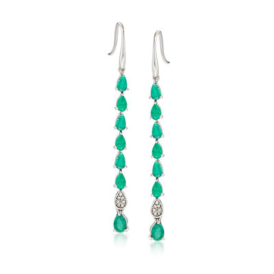 3.20 ct. t.w. Emerald Drop Earrings with Diamond Accents in Sterling Silver