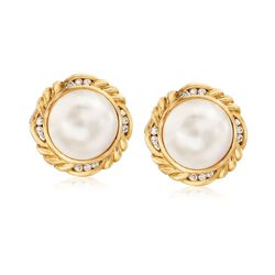 C. 1980 Vintage 15mm Cultured Mabe Pearl and .55 ct. t.w. Diamond Earrings in 18kt Yellow Gold, , default