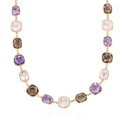 "Rose Quartz and 47.00 ct. t.w. Multi-Stone Station Necklace in 14kt Yellow Gold. 18"", , default"