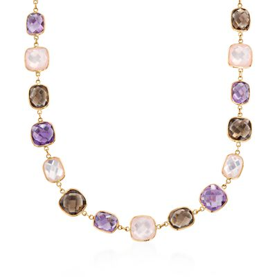 Rose Quartz and 47.00 ct. t.w. Multi-Stone Station Necklace in 14kt Yellow Gold, , default