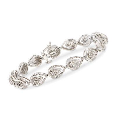 1.50 ct. t.w. Diamond Pear-Shaped Link Bracelet in Sterling Silver