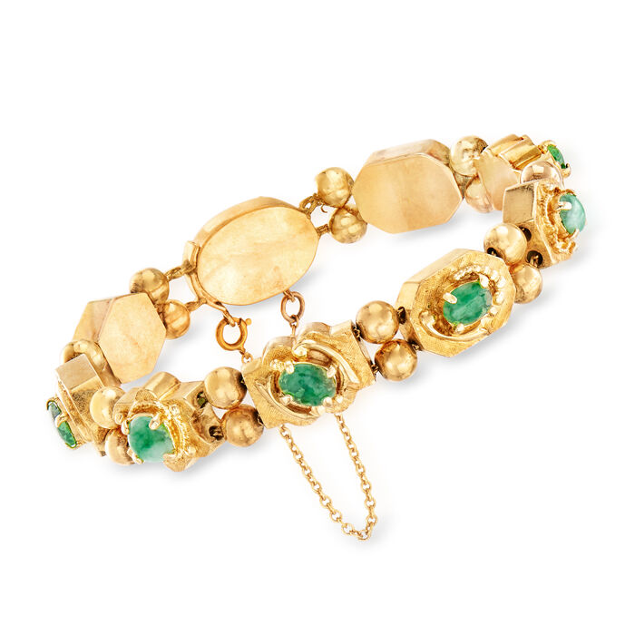 "C. 1960 Vintage Green Jade Bracelet in 14kt Yellow Gold. 7"", , default"