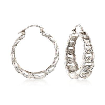 Italian Sterling Silver Graduated Curb Chain Hoop Earrings, , default
