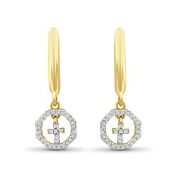.15 ct. t.w. Diamond Cross Drop Earrings in 18kt Yellow Gold Over Sterling Silver, , default