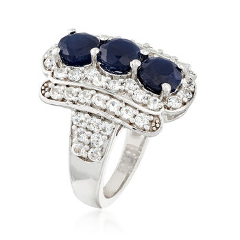 2.80 ct. t.w. Sapphire and 2.00 ct. t.w. White Topaz Ring in Sterling Silver, , default