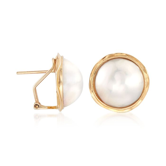 14-15mm Cultured Mabe Pearl Earrings in 14kt Yellow Gold
