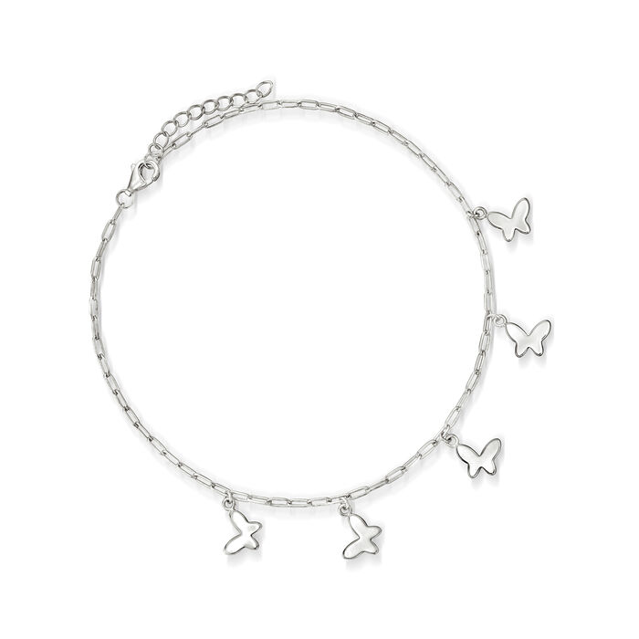 Sterling Silver Paper Clip Link Butterfly Anklet
