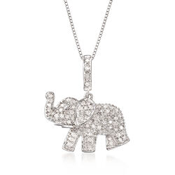 .33 ct. t.w. Pave Diamond Baby Elephant Pendant Necklace in Sterling Silver, , default