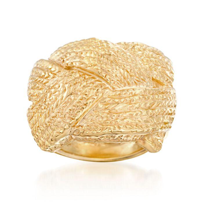 Italian 18kt Yellow Gold Basketweave Ring