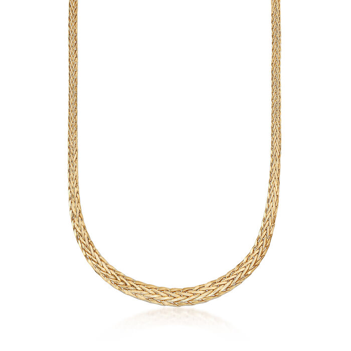 18kt Yellow Gold Wheat-Link Necklace with Magnetic Clasp