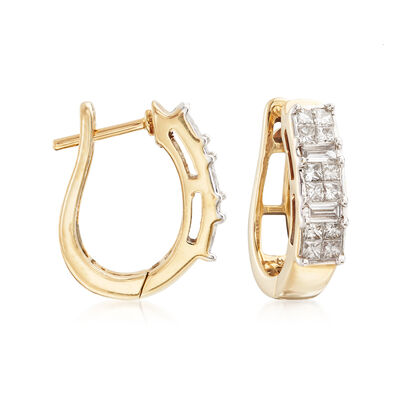 .48 ct. t.w. Diamond Huggie Hoop Earrings in 14kt Yellow Gold, , default