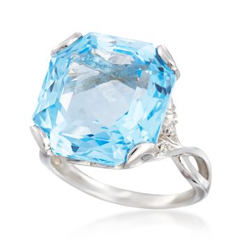 9.00 Carat Sky Blue Topaz and .10 ct. t.w. White Zircon Ring in Sterling Silver, , default