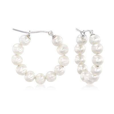 4-5mm Cultured Pearl Hoop Earrings in Sterling Silver