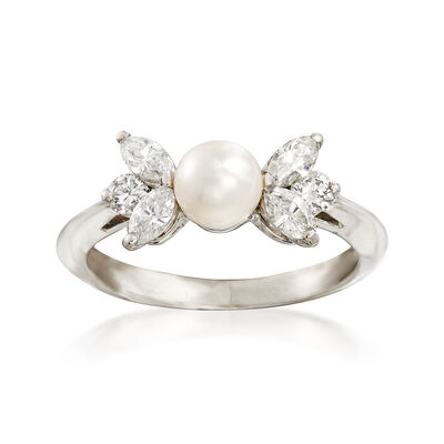 C. 1990 Vintage Tiffany Jewelry 5mm Cultured Pearl and .50 ct. t.w. Diamond Ring in Platinum, , default