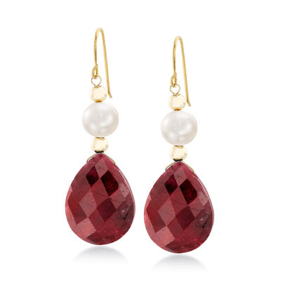20.00 ct. t.w. Ruby and Cultured Pearl Earrings in 14kt Yellow Gold, , default