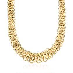 "14kt Yellow Gold Graduated Multi-Circle Link Necklace. 17.5"", , default"