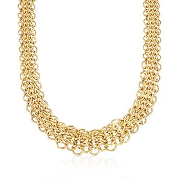 """14kt Yellow Gold Graduated Multi-Circle Link Necklace. 17.5"""", , default"""