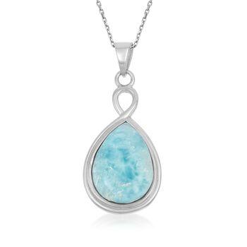 "Larimar Twist Pendant Necklace in Sterling Silver. 18"", , default"