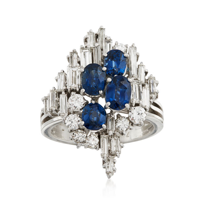 C. 1970 Vintage 2.00 ct. t.w. Sapphire and .50 ct. t.w. Diamond Ring in 18kt White Gold