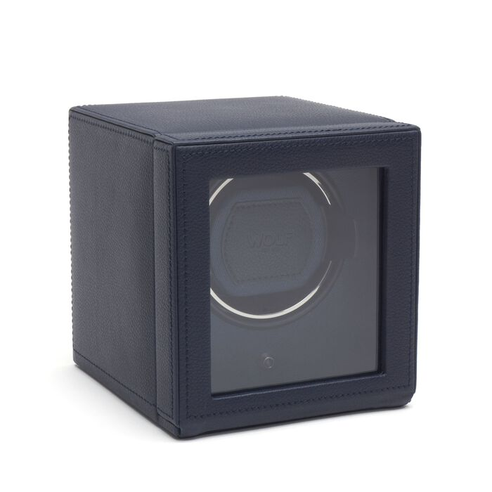 """""""Cub Winder"""" Navy Single Watch Winder with Cover by Wolf Designs"""