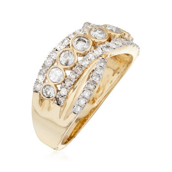 1.00 ct. t.w. Bezel-Set Diamond Sash Ring in 14kt Yellow Gold, , default