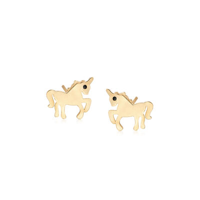 Child's 14kt Yellow Gold Unicorn Earrings with Black CZ Accents