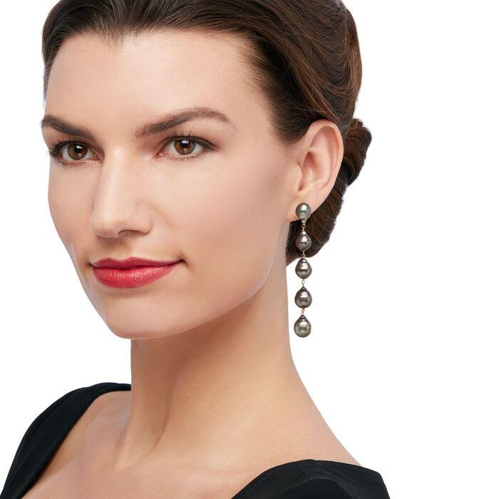 9-11mm Black Cultured Tahitian Baroque Pearl Linear Drop Earrings in 14kt Yellow Gold