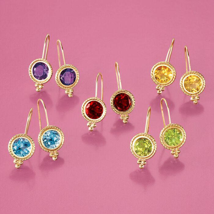 1.75 ct. t.w. Peridot Drop Earrings in 14kt Yellow Gold