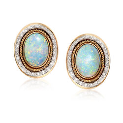 C. 1980 Vintage Opal and 1.20 ct. t.w. Diamond Earrings in 14kt Yellow Gold , , default