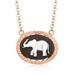 Italian Black Ceramic Elephant Cameo Necklace in 14kt Rose Gold Over Sterling, , default