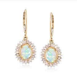 Ethiopian Opal and 1.05 ct. t.w. Diamond Drop Earrings in 14kt Yellow Gold, , default