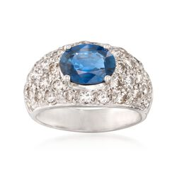 C. 1990 Vintage Le Vian 1.95 Carat Sapphire and 2.00 ct. t.w. Diamond Ring in 18kt White Gold. Size 6.75, , default