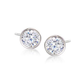 2.00 ct. t.w. Bezel-Set CZ Stud Earrings in Sterling Silver, , default