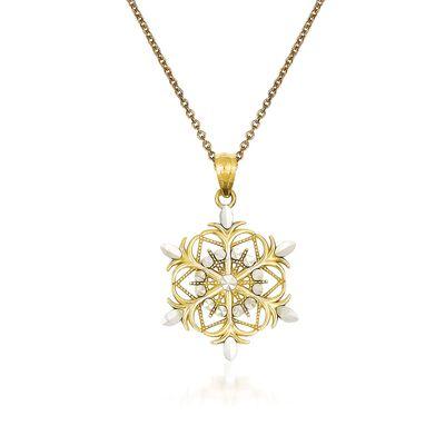 14kt Yellow Gold Snowflake Pendant Necklace, , default