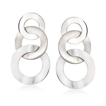 Italian Graduated Sterling Silver Open Circle Drop Earrings, , default