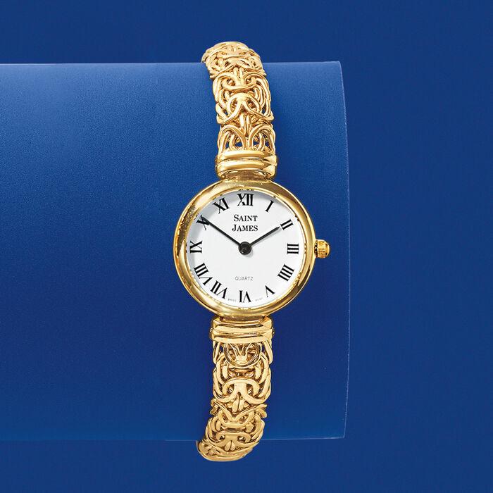 Saint James Women's 22mm 14kt Yellow Gold Byzantine Watch