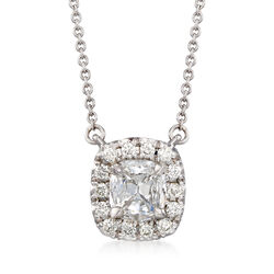 Henri Daussi .68 ct. t.w. Diamond Halo Necklace in 18kt White Gold , , default
