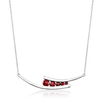 1.85 ct. t.w. Garnet Curved Necklace in Sterling Silver, , default