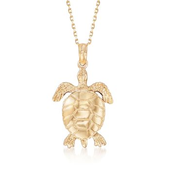"14kt Yellow Gold Sea Turtle Pendant Necklace. 18"", , default"